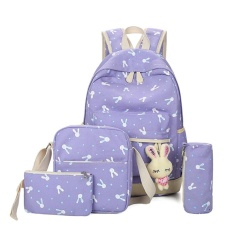 Jual 5 Pcs Set Women Canvas Backpack Lovely Rabbit Sch**l Travel Teenage Tas Bahu Ungu Internasional Not Specified Branded