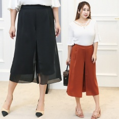 60 Kg-100 Kg Wanita Pakaian Ukuran Besar Lemak Real Orang Gemuk Pakaian Plus Pupuk untuk Meningkatkan Chiffon Panjang (Jeruk Merah) -Intl