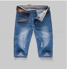 666 Pria Biru Pucat Lubang Di Jeans-Intl