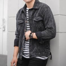 7Dj Jaket Jeans Pria Black Sandwash Di Jawa Barat