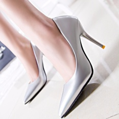 8 Warna Seksi Kualitas Merek Pernikahan Modis Bertumit Seksi Pompa Tumit Sepatu (Perak)-Internasional