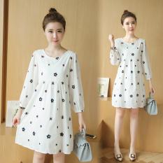 8810 #7/10 L Lengan Baju Bordir Putih Kapas Gaun untuk Wanita, China Hamil