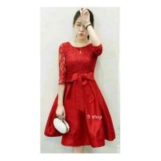 9 Shop Gaun Midi Brukat Wanita MERLI - MERAH | Midi Dress Wanita | Dress Brukat Cewek | Gaun Pesta | Dress Remaja | Gaun Cewek | Gaun Remaja Cewek | Gaun Wanita | Lace Dress