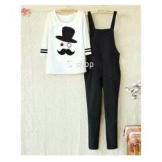 9 Shop Jumpsuit Wanita TOPI KUMIS + Gratis Kaos / Baju Terusan Wanita / Baju Kodok Wanita / Baju Stelan Wanita / Setelan Wanita / Setelan Celana Panjang Wanita