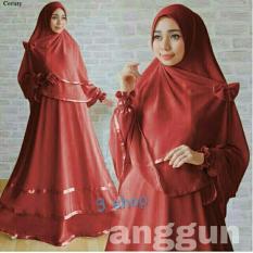9 Shop Set Gamis Syari Muslim Wanita ANGGUN - MAROON Dress Muslim  Syar'i Muslim  Hijab Muslim  Gamis Wanita