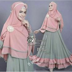 9 Shop Set Gamis Syari Muslim Wanita BELLA - HIJAU SALEM ( Tanpa Bros ) Dress Muslim  Syar'i Muslim  Hijab Muslim  Gamis Wanita