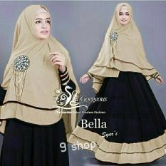 9 Shop Set Gamis Syari Muslim Wanita BELLA - MOCCA HITAM (Tanpa Bros) Dress Muslim  Syar'i Muslim  Hijab Muslim  Gamis Wanita