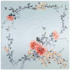 90 Cm * 90 Cm Baru Fashion Jilbab Twill Silk Square Scarf untuk Wanita Bungkus Sutra Rose Love Dicetak Syal Selendang Sorban Lampu Warna Abu-abu-Intl