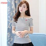 Spesifikasi Lengan Pendek Bergaris Kaos Pakaian Wanita 173036 Online