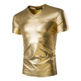 A0020 Pria Terbaru Gaya Busana Berpayet Klub V Leher T Shirt Tipis Berlengan Pendek Emas Oem Diskon