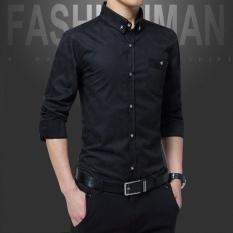 A01 Fashion Gaya Baru Pria Bisnis Lengan Panjang Slim Dimurnikan Kapas Kemeja Mencuci dan Memakai Anti Keriput Shirt-DC1617-2 Hitam -Intl