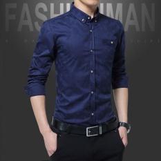 A01 Fashion Gaya Baru Pria Bisnis Lengan Panjang Slim Dimurnikan Kapas Kemeja Mencuci dan Memakai Anti Keriput Shirt-DC1617-2 Dark Biru-Intl
