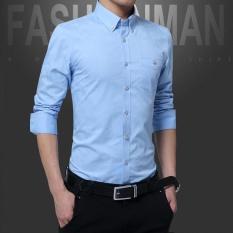 A01 Fashion Gaya Baru Pria Bisnis Lengan Panjang Slim Dimurnikan Kapas Kemeja Mencuci dan Memakai Anti Keriput Shirt-DC1617-2 Light Biru-Intl