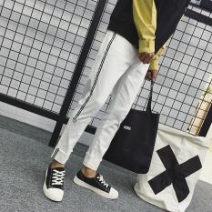 A01 Gaya Baru Muda Pria Fashion Kasual Polos Celana Lurus Loose Dimurnikan Cotton Retro Pants-RZ-DJ149 Putih-Intl