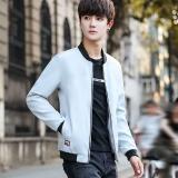 Promo A02 Korea Gaya Fashion Muda Pria Jaket Polos Slim Kasual Mantel Tipis 1711 Light Grey Tiongkok