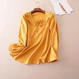Spesifikasi Elegan A616 Korea Fashion Style Daun Teratai Tepi Musim Gugur Baru Kemeja Jahe Kuning Bagus