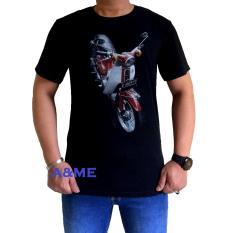 A&ME - Kaos Distro Fashion T'Shirt Distro 100% Cotton Combed Atasan Pria Wanita Fashion Baju 100% Cotton Lembut Adem Simple Keren Casual Sporty Tulisan Sablonan Gambar Bagus Motor Honda Tahun Tua Clasic - Hitam