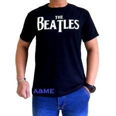 A&ME Kaos Fashion Distro 100% Cotton Combed 30s Atasan Pakaian Pria Wanita Baju Fashion Baju Lembut Adem Simple Keren Casual Sporty The Beatles Tulisan Putih Sablonan Bagus - Kaos Hitam