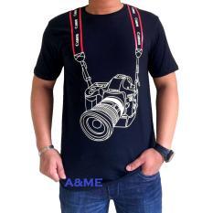 A&ME - Kaos Fashion Distro T'shirt Distro 100% Cotton Combed 30s Atasan Pria Wanita Fashion Baju 100% Cotton Lembut Adem Simple Keren Casual Sporty Tulisan Sablonan Bagus Gambar Kamera Canon - Hitam