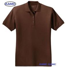 A&ME-Kaos Polo Shirt  M L XL Lengan Pendek Baju Pakaian Olah Raga Kaos Kerah Atasan Pria Wanita Lacos Pique Fashion Keren Nyaman Bagus Simple - Coklat