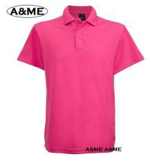 A&ME-Kaos Polo Shirt  M L XL Lengan Pendek Baju Pakaian Olah Raga Kaos Kerah Atasan Pria Wanita Lacos Pique Fashion Keren Nyaman Bagus Simple - Pink Fanta