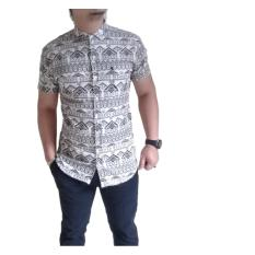 Beli A Me Kemeja Motif Abstrak Cotton M L Xl Fashion Keren Bagus Moderen Simple Cream Coklat Online