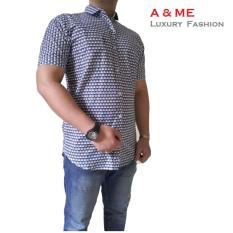 Spesifikasi A Me Kemeja Motif Fashion Cotton Gelombang Segi Keren Moderen Simple Sesuai Gambar Biru Dan Harganya