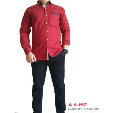 Review A Me Kemeja Polos Cotton M L Xl Fashion Keren Bagus Moderen Simple Merah List Terbaru