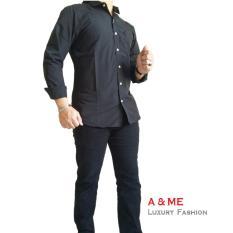 Beli A Me Kemeja Polos Fashion Moderen Bagus Nyaman Keren Simple Hitam Online