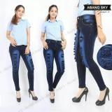 Jual Abangsky Celana Jeans Wanita Sobek Gradasi Tania Dark Blue Size 27 30 Di Dki Jakarta