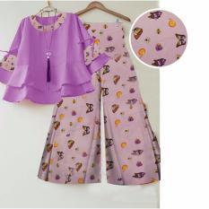 AbangSky Stelan Celana Kulot Ketrin Pink Muda+ Blouse Ungu
