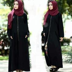Harga Abaya Cardi Zipper Saku Kanan Kiri Jetblack Saudi Black Merk Al Khatib