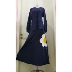 Abaya Dannis Baju Muslim Sarimbit Eggy Flower - Biru Dongker - Bunga