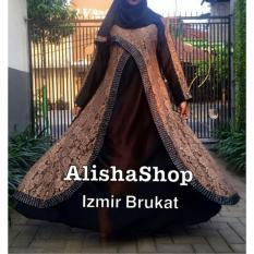 Abaya Gamis Brokat Wanita Izmir Free Pashmina