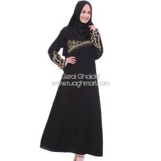 Harga Abaya Shiraz Jetblack Saudi Bordir Gold Black Baru