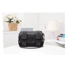 AC Fashion Handbags Grosir Tas Tas Bahu Kecil Portable Retro Leather Rivet Bag High Quality PU Leather Day Clutch- INTL