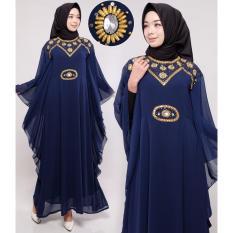 Diskon Produk Ace Fashion Dress Muslim Maxi Kaftan Syahrini 2017 Navy