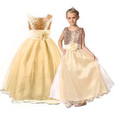 Korset Model Formal Gadis Bunga Gaun Pengiring Pengantin Pesta Pernikahan Putri Usia 3-12 Tahun (Champagne Emas)