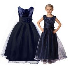 Gaun Pesta Cantik Motif Bunga untuk Anak Bridesmaid untuk Anak Usia 3-12 Tahun (biru Navy)
