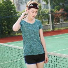 Activewear Gym Suit Kelembaban Sportswear Fitness Pelatihan T-Shirt untuk Wanita Danau Biru XL-Intl