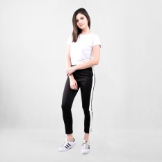 Spek Ada Fashion Black Long Pants With White Stripe Side Line