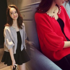 Tambahkan Lemak Menambahkan Ladys' Pakaian Setelan Catty Adik Perempuan Kuku Manik Kain Rajutan Mantel Rompi Satu Potong gaun Dua Set (Daftar Kepingan Gray Mantel) -Internasional