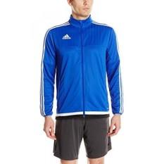 Adidas Pria Sepak Bola Tiro 15 Latihan Jaket, Berani Biru/Putih/Hitam, X-Internasional