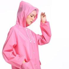 Diskon Dewasa Hiking Transparan Raincoat Pria And Wanita Outdoor Long Single Eva Raincoat Pink