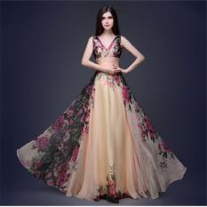 Promo Advanced Deep Wanita Leher V Gaun Untuk Merayakan Pesta Tinggi New Floral Print Gaun Wanita Robe Elegan Baru Fashion Long Dress Intl Oem