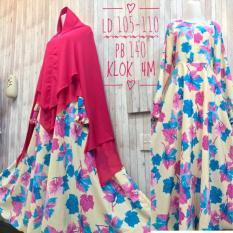 Jual Adzra Gamis Murah Syari Busana Muslim Wanita Mapel Dress Kuning Gading Murah Indonesia