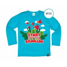 Ardilla Kaos Anak Muslim Afrakids AF133 / Baju Kaos Anak Unisex / Baju Kaos Lengan Panjang / Biru