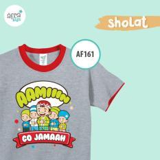 Aria Baju Kaos Anak Afrakids / Baju Kaos Anak Cowok / Baju Kaos Lengan Pendek Laki - Laki / AF161 - AbuAbu