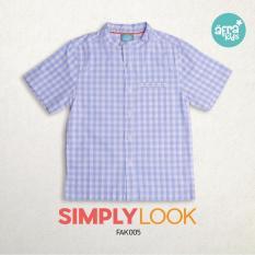 Afrakids baju koko anak Premium lengan pendek motif kotak biru