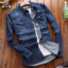 Promo Kasual Pria Muda Pakaian Denim Atasan Jeans Cahaya Biru Baju Atasan Kaos Pria Kemeja Pria Tiongkok